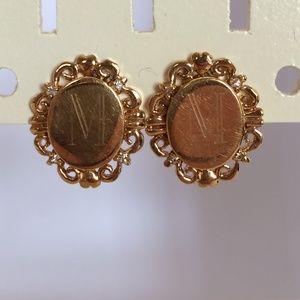 Vintage Gold Plated Monogram M Earrings